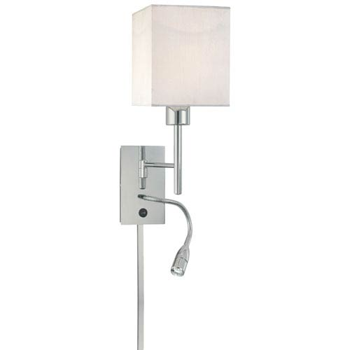 George Kovacs Reading Room Chrome Two Light Wall Sconce With Adjule And White Fabric Shade