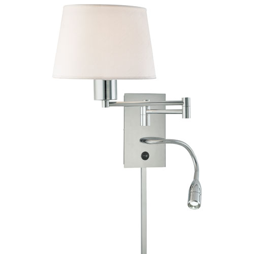 George Reading Room Chrome Two-Light Swing Arm Wall Sconce with Adjustable Reading Light and White Fabric Shade
