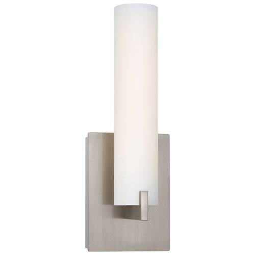 Tube Brushed Nickel LED Wall Sconce w/Etched Opal Glass
