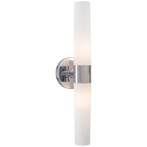 Bath Art Chrome Two-Light Bath with Case Etched Opal Glass