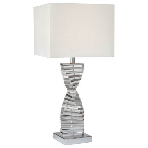 George Kovacs Chrome Table Lamp with Eidolon Krystal Glass and White Fabric Shade