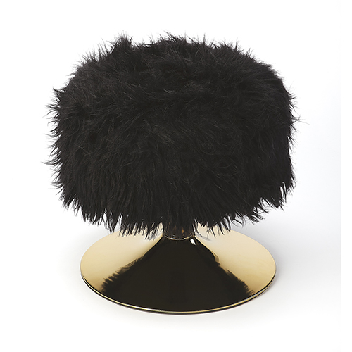 Loft Nona Black Faux Fur Stool