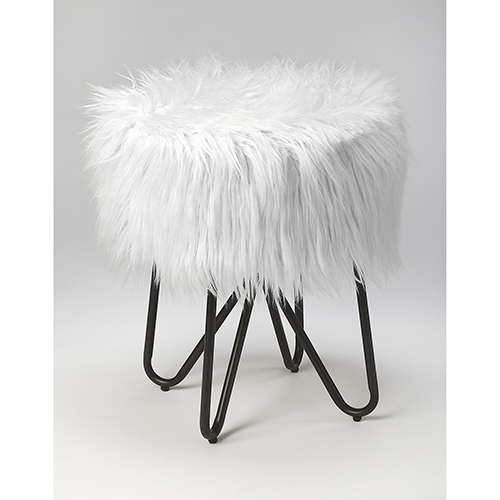 Loft Black Ezra Faux Fur Stool