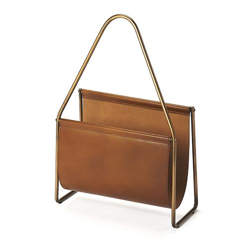 Butler Loft Brown Rupert Leather Magazine Basket