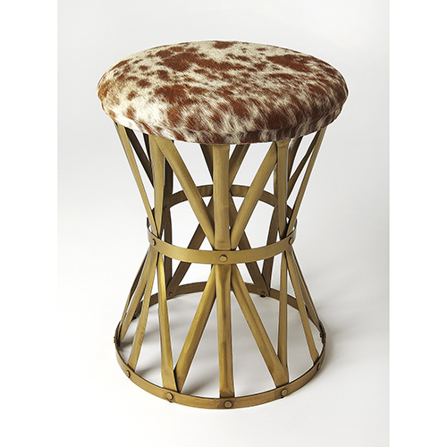 Industrial Chic Multicolor Parker Hair-On-Hide Stool