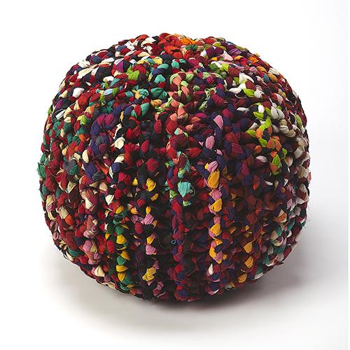 Lulu Multicolor Braided Pouf