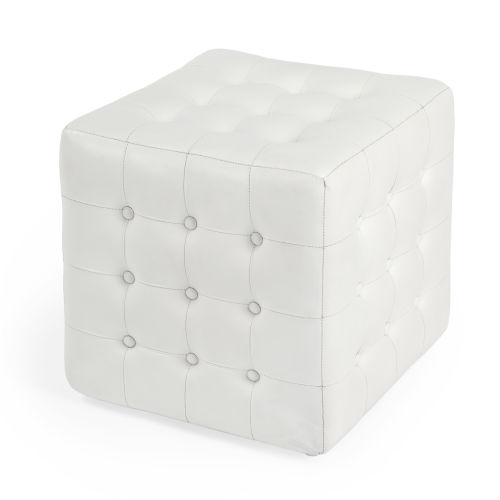 Accent Seating Leon White Leather Ottoman