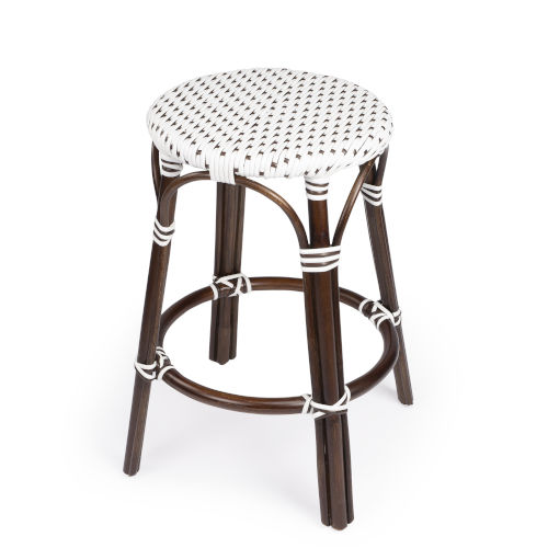 Tobias Brown and White 16-Inch Round Counter Stool