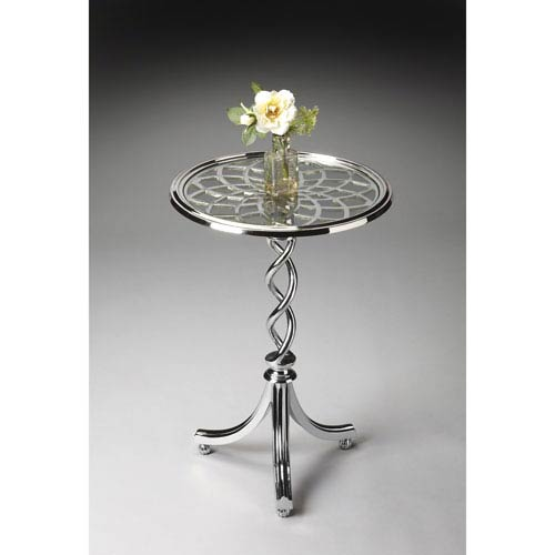 Butler Specialty Company Modern Expressions Round Checkered Trim Accent Table