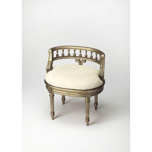 Hathaway Brushed Pewter Vanity Seat