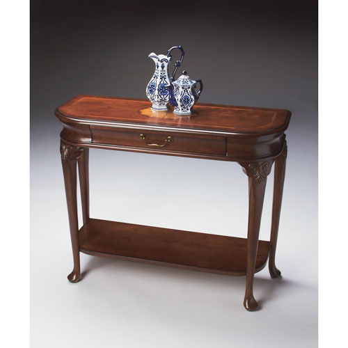 Plantation Cherry Console Table with Antique Brass Hardware