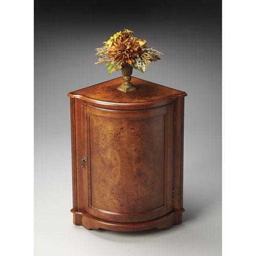 Butler Specialty Company Masterpiece Olive Ash Burl Corner Cabinet