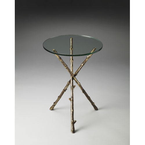 Metalworks Glass and Meta Accent Table