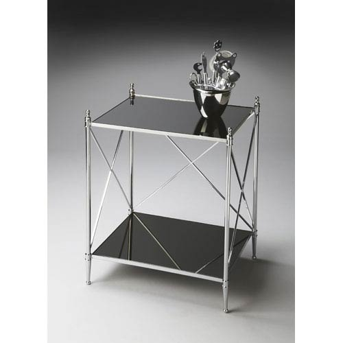 Butler Specialty Company Nickel Glossy Mirrored Glass Top End Table