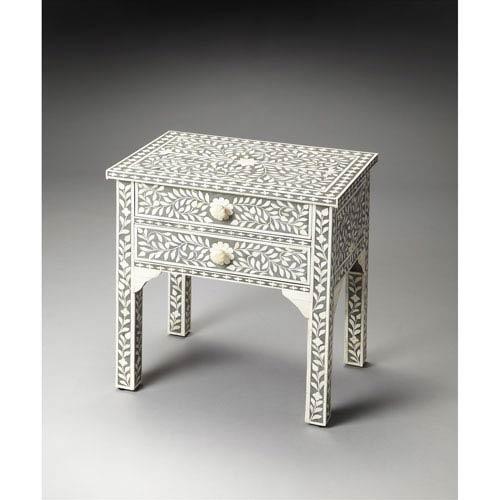 Vivienne Gray Bone Inlay Side Table