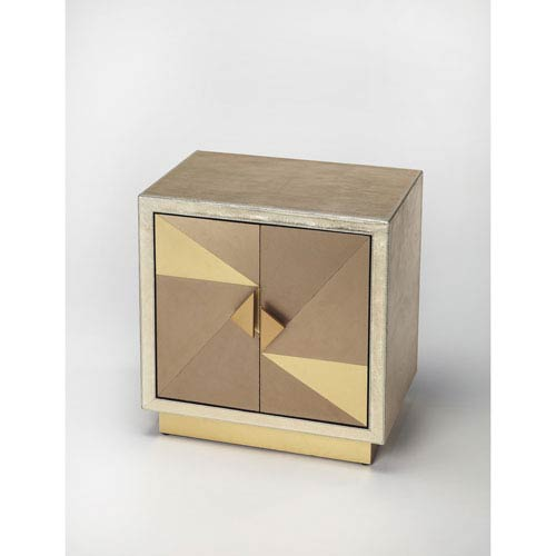 Xavier Gold Leather Accent Cabinet