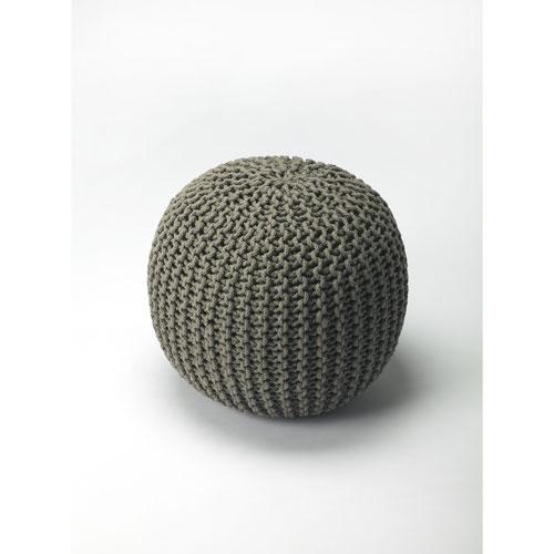 Pincushion Gray Woven Pouffe