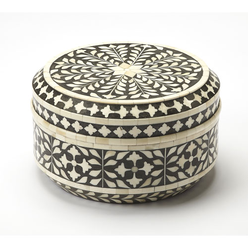 Vivienne Black Bone Inlay Round Storage Box