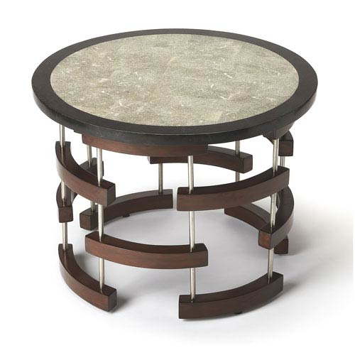 Butler Specialty Company Broken Arcs Fossil Stone Cocktail Table