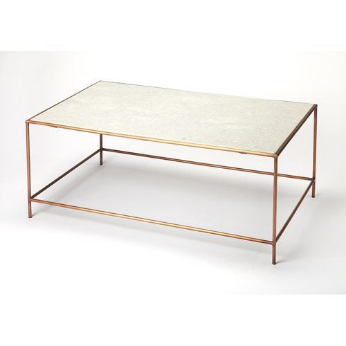 Copperfield White Marble Cocktail Table