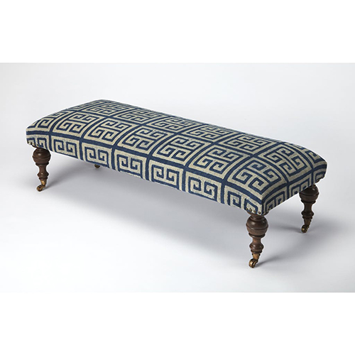 Butler Anthora Greek Key Upholstered Bench