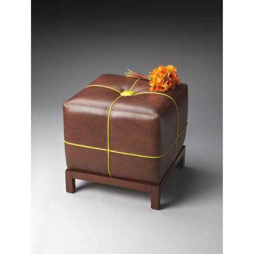 Butler Specialty Company Modern Expressions Brown with Lime Green Bunching Ottoman