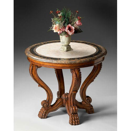 Butler Specialty Company Heritage Fossil Stone Veneer Top Foyer Table