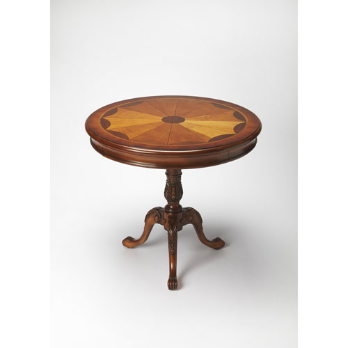 Carissa Olive Ash Burl Round Pedestal Table