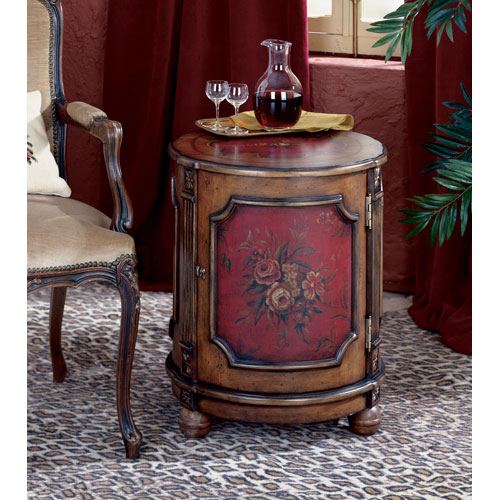 Artists Originals Red Hand Painted Drum Table