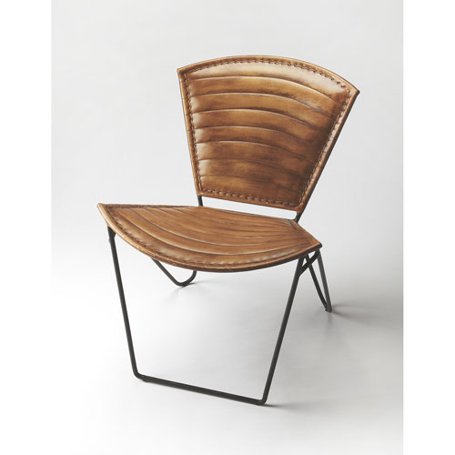 Felix Iron and Leather Accent Chair