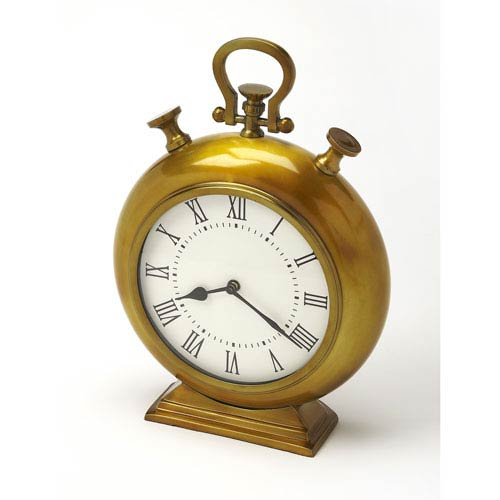 Kenilworth Antique Brass Finish Desk Clock