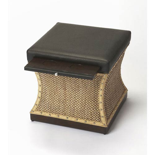 Mathilda Raffia and Leather Bunching Ottoman