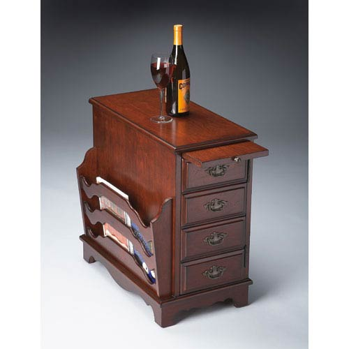 Plantation Cherry Side Drawer/Pull Out Tray Magazine Table