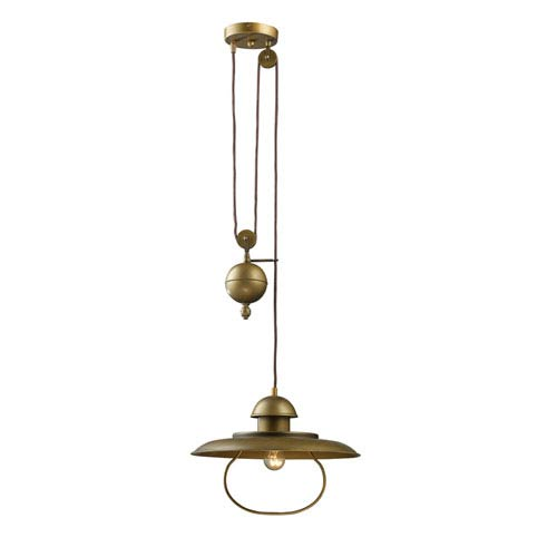 Elk Lighting Farmhouse Antique Br One Light Pulldown Pendant