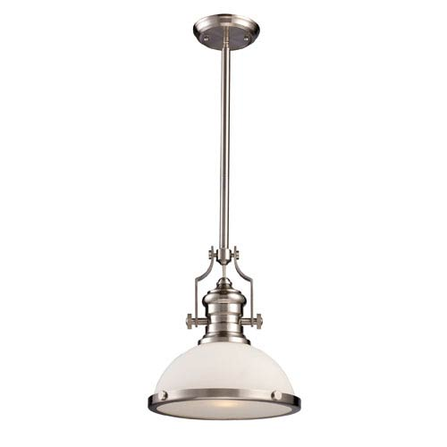 Chadwick Satin Nickel One-Light Pendant with Frosted Glass