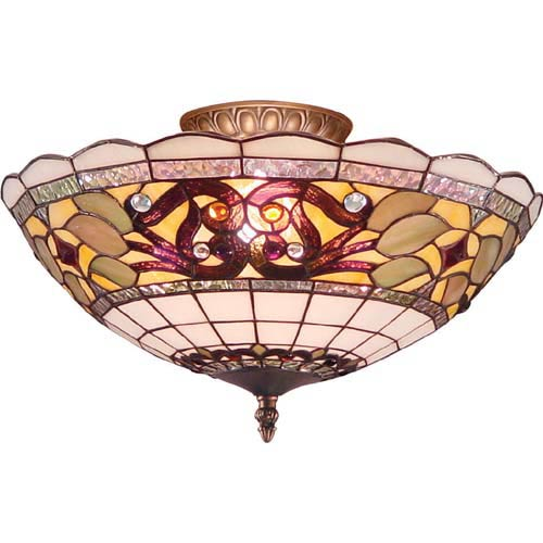 Tiffany flush mount lights from bellacor muted tiffany flush ceiling light aloadofball Choice Image