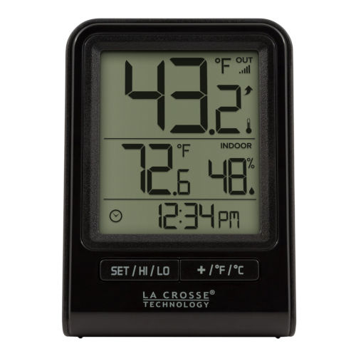 Black Wireless Thermometer with Indoor/Outdoor Temperature and Time