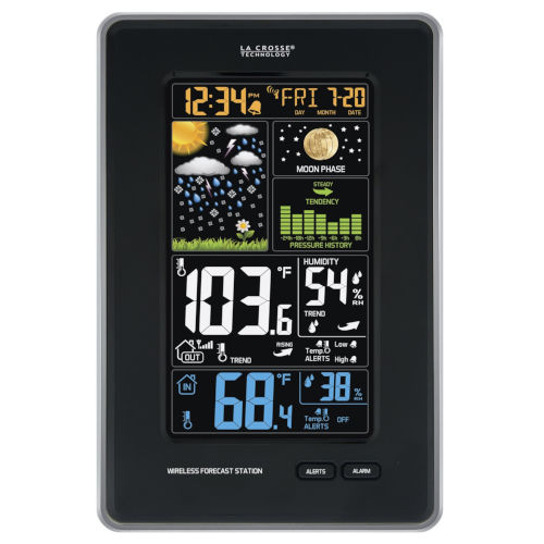 Black Vertical Wireless Color Weather Station