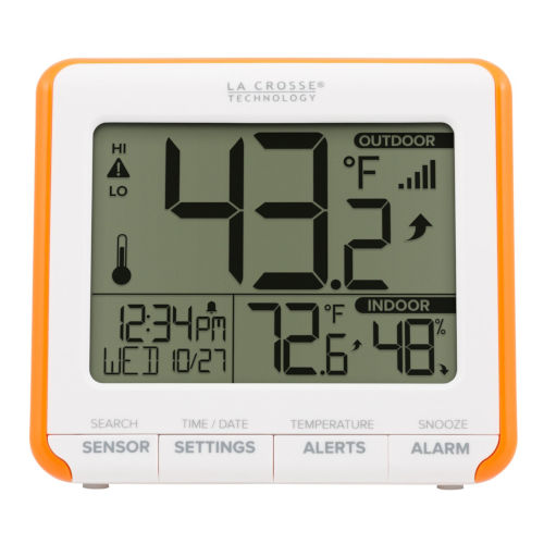 White Weather Station with Indoor/Outdoor Time and Temperature Alarm