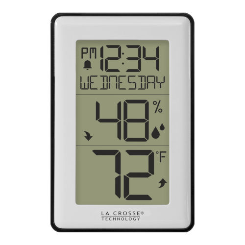 White Indoor Temperature Station with Humidity Alerts