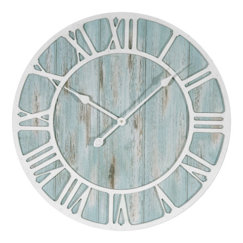 Blue and White Decorative Analog Wall Clock
