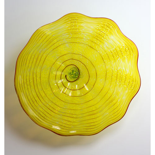 Yellow and Red Stripe Wall Plate - Medium