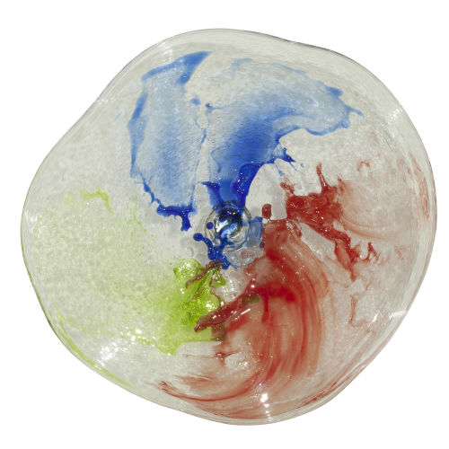 Amber, Red and Blue Gray 21-Inch Wall Plate