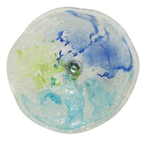 Lime Green, Cobalt and Aqua 21-Inch Wall Plate