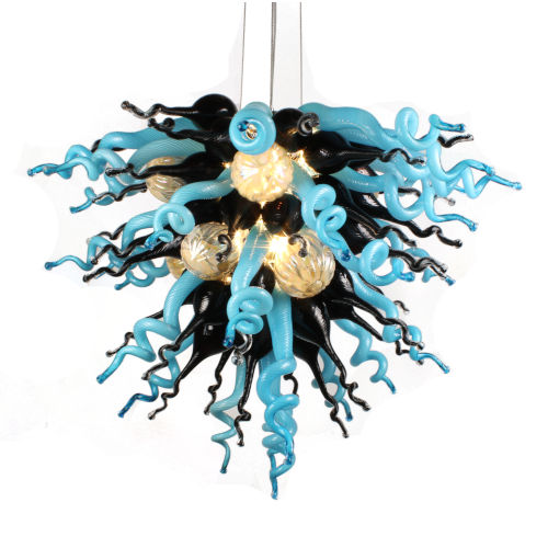 Nebula Azur Black and Blue Six-Light LED Chandelier