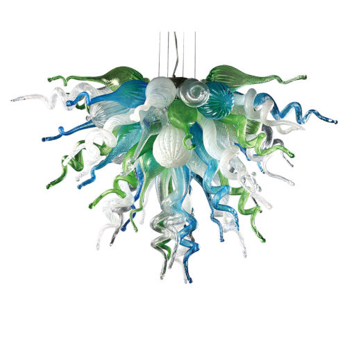 Ocean Mist Aqua Green and Opaline Three-Light LED Chandelier