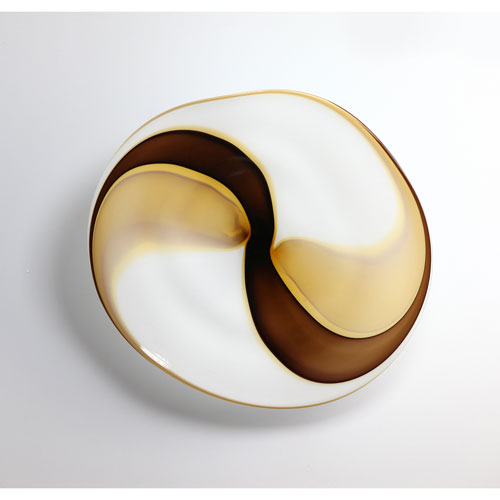 Viz Art Glass Amber, White and Brown Large Wall Art Plate