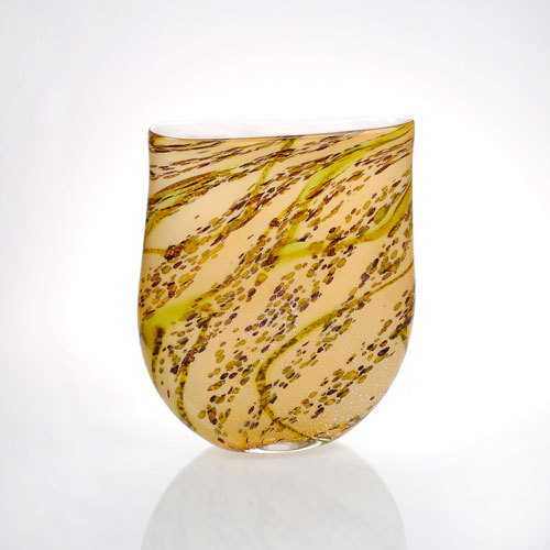 Amber with Lime Green Effects 3-Inch Vase