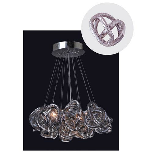 Infinity Chandelier with Metallic Silver Glass in Chrome Finish - Small