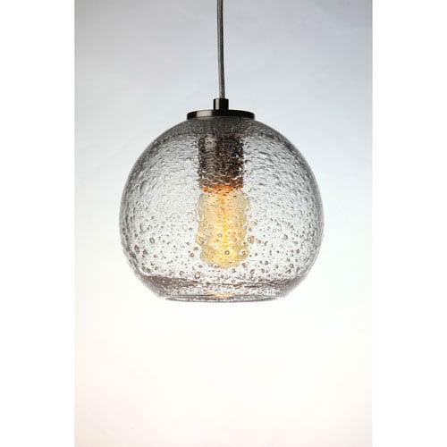 Vintage Satin Nickel Clear Bubble Glass Globe Pendant